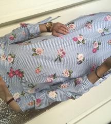 NEW LOOK csíkos virágos ruha 34/XS