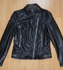 Fekete Fishbone műbőr dzseki / kabát M-es méret