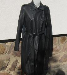 Szerintem műbőr fekete hosszú kabát