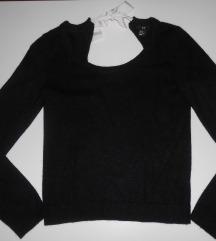 H&M fekete hátul kivágott pulóver akció