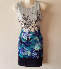 ÚJ M-es kék, virágos mini ruha, nyári ruha