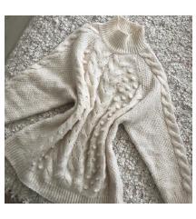 F&F fehér kötött magasnyakú pulcsi
