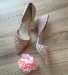 ÚJ! Nude/bézs köves minisarkú elegáns cipő