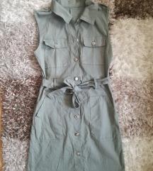 Khaki gombos ruha S méret
