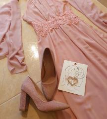 Rózsaszin koszorúslány ruha szett Xs/37