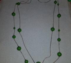 Hosszú zöld  dupla gyöngysor