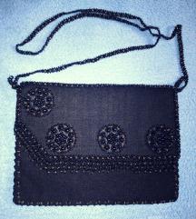 Fekete vintage gyöngyös kistáska