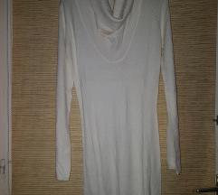 Fehér ejtett nyakú, garbós ruha/tunika