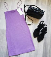 CÍMKÉS, lila, spagettipántos ruha