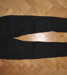 Fűzős szűkszárú sötétkék nadrág