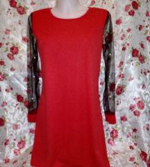 Új piros fekete hálós,gyöngyös ruha M