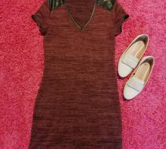 fekete betétes bordó ruha/tunika
