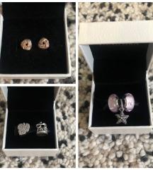 Pandora charm, körhinta, rose fülbevaló