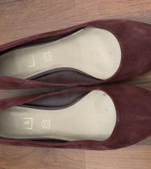 Lapossarkú, bordó balerina cipő, bőr belsővel (39)