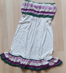 Fehér, színes csíkos Bershka ruha S/M