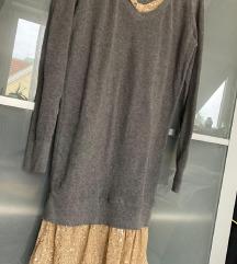 Szürke arany flitteres alkalmi pulóver 38 újszerű
