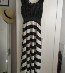 Fekete fehér nyári csipkés maxiruha