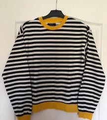 fekete fehér sárga mintás vékony pulóver