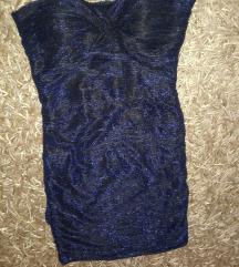 Tally weijl XS-es csillogós kék fekete miniruha