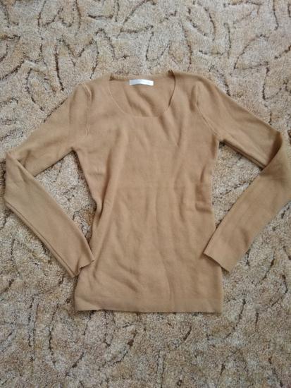 Őzbarna bordázott kötött pulóver