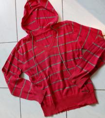 Piros csíkos pulcsi kapucnival L/XL