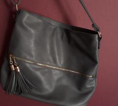 Újszerű, sötétszürke shopper táska
