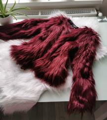 Burgundi szőrme kabát S/M Új