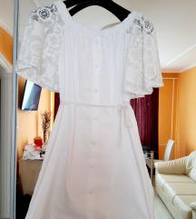 Új, fehér nyári csipkés ujjú ruha S