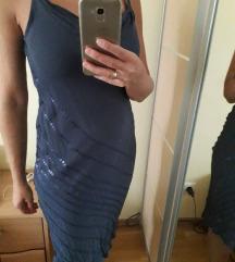 új Mango kék flitteres ruha S
