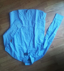 Új cimkés kék csíkos ing