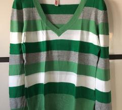 S'Oliver zöld-fehér csíkos pulóver