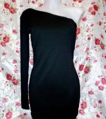Új fekete félvállas mini ruha S-M