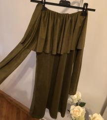 Vállnélküli velúr anyagú méregzöld ruha 👗