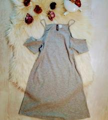 H&M bordázott cold shoulder mini ruha 34/XS