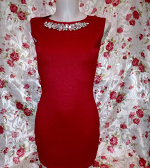 Új Swarovski köves piros mini ruha S méret