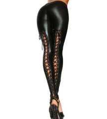 Fűzős latex leggings
