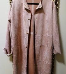 Zara velúr kabát púder színű