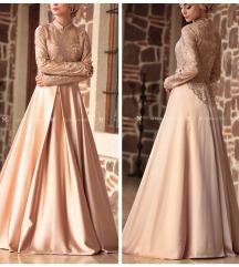Gyönyörű arany hímzett alkalmi maxi ruha
