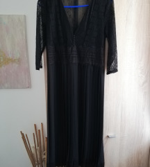 Zara fekete csipke pliszirozott ruha