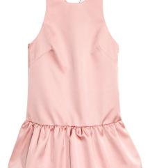 ÚJ H&M rózsaszín fodros ruha XS