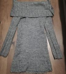 Vállra húzható meleg kötött pulóver gomb dísszel