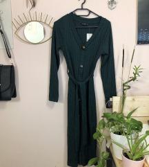 Sötétzöld midi ruha