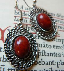 Vintage Tibeti ezüst fülbevaló bordó köves