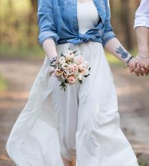 Fehér nyári/esküvői maxi ruha S-M, 36-38