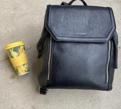 Fekete műbőr hátizsák ajándék bambusz pohárral 💐