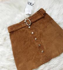 ÚJ címkés Zara barna bőr szoknya S