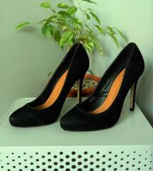 38, fekete, hasított bőr, elegáns, tűsarkú cipő