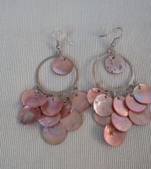 Rózsaszín kagylós fülbevaló