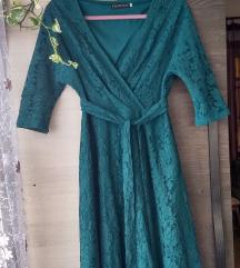 Csipkés alkalmi ruha (zöld a színe)