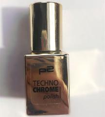 P2 Techno Chrome aranyszínű  körömlakk